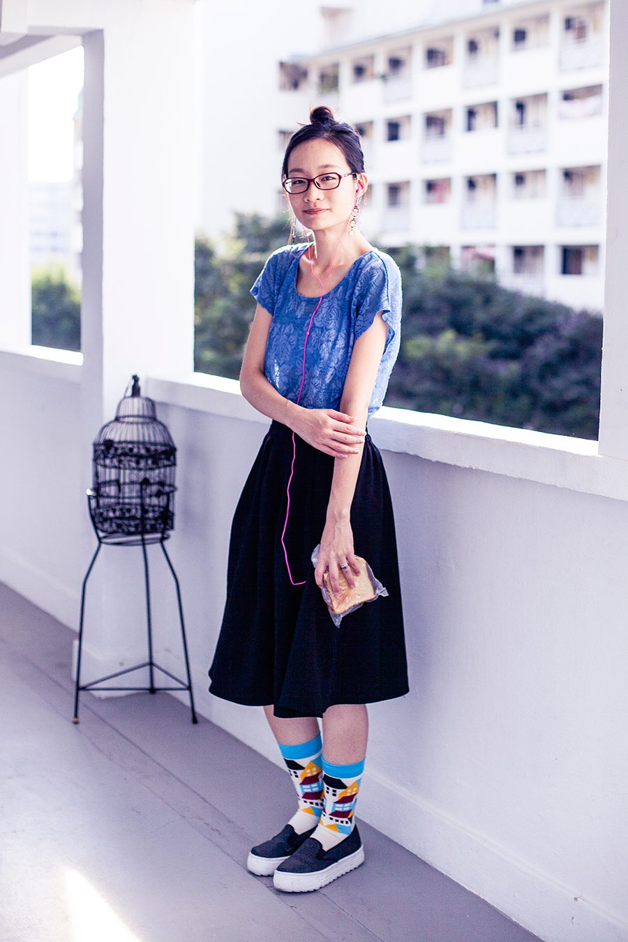 Forever 21 blue lace top, Lowry's Farm black midi skirt with pockets, Dresslink house print crew socks, Matryoshka earrings, Spurr monique sneakers platform loafers via Zalora.
