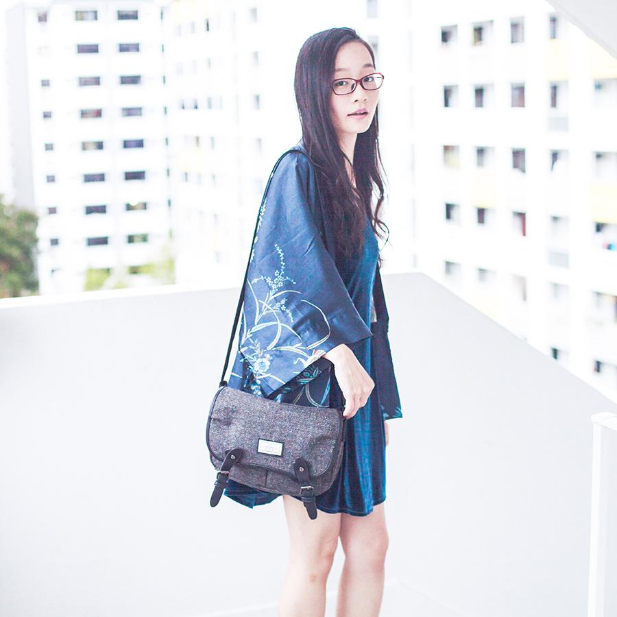 Dressin blue phoenix kimono cardigan, Cotton On velvet dress, Bugis Street grey satchel, Firmoo red prescription glasses online.