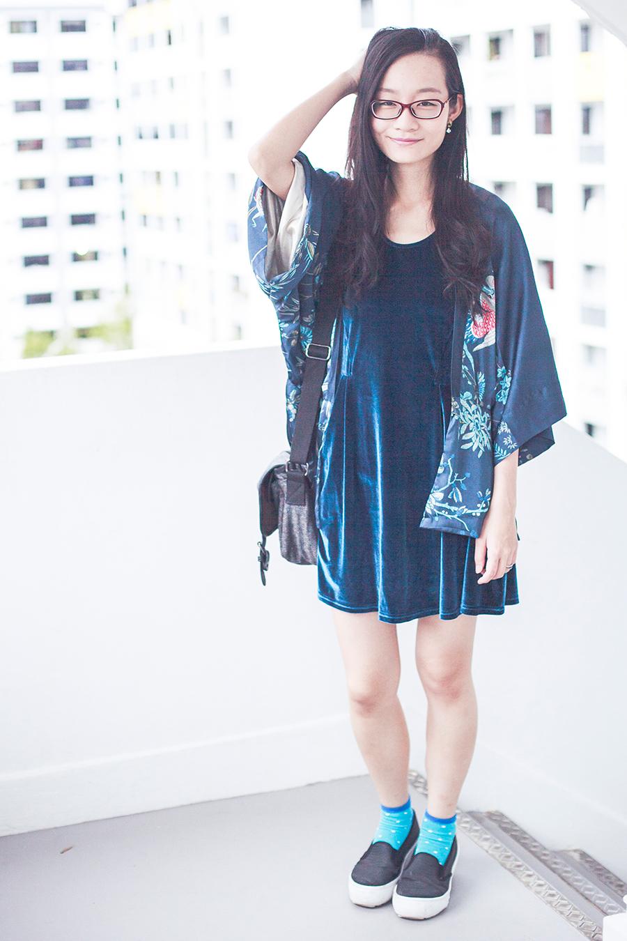 Dressin blue phoenix kimono cardigan, Cotton On velvet dress, Bugis Street grey satchel, Firmoo red prescription glasses online, Spurr Monique sneakers via Zalora.