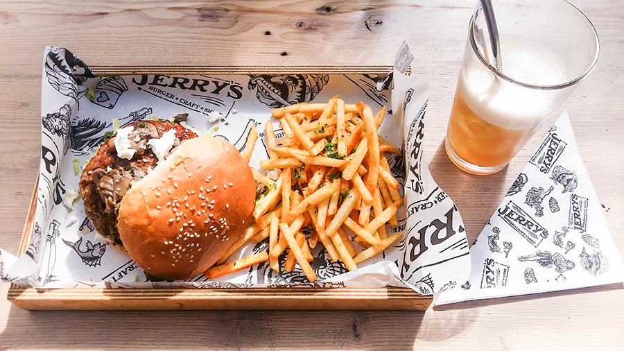 Burger and fries at at Jerry's Burger Bar, Cape Town.