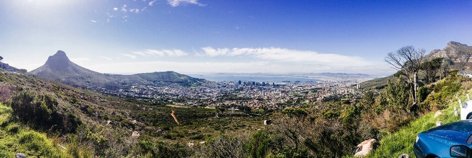 Panoramic landscape at Table Mountain, Cape Town.