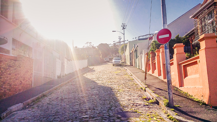 Steep cobbled road at Cape Town.