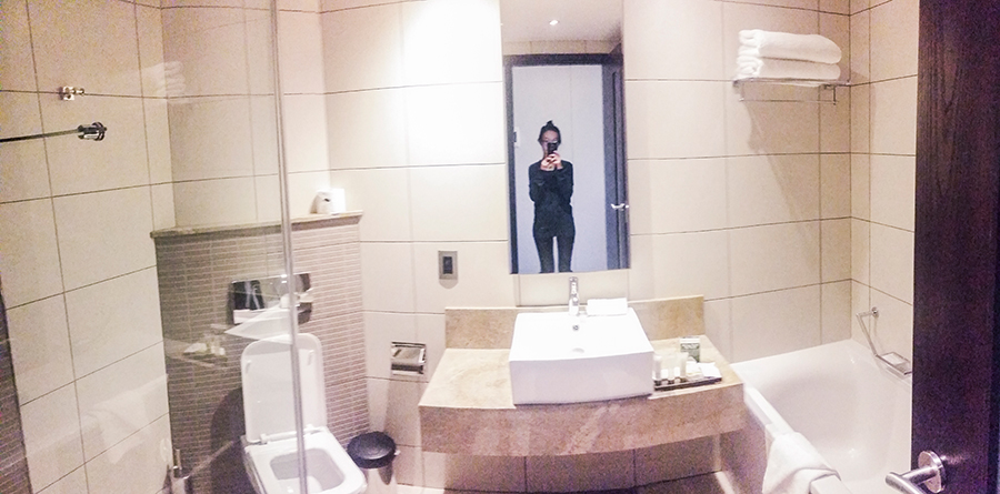 Bathroom at the Premier Hotel O.R. Tambo, Johannesburg.