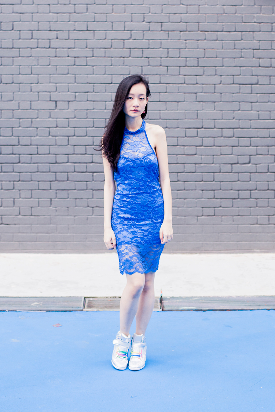 Dresslink lace cheongsam, Zalora Iridescent Hidden Wedge Sneakers.