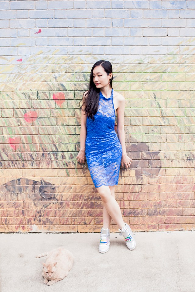Dresslink lace cheongsam, Zalora Iridescent Hidden Wedge Sneakers.
