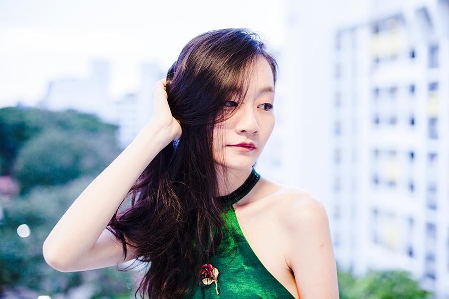 Green satin backless dress from CNDirect, vintage gold rose brooch.