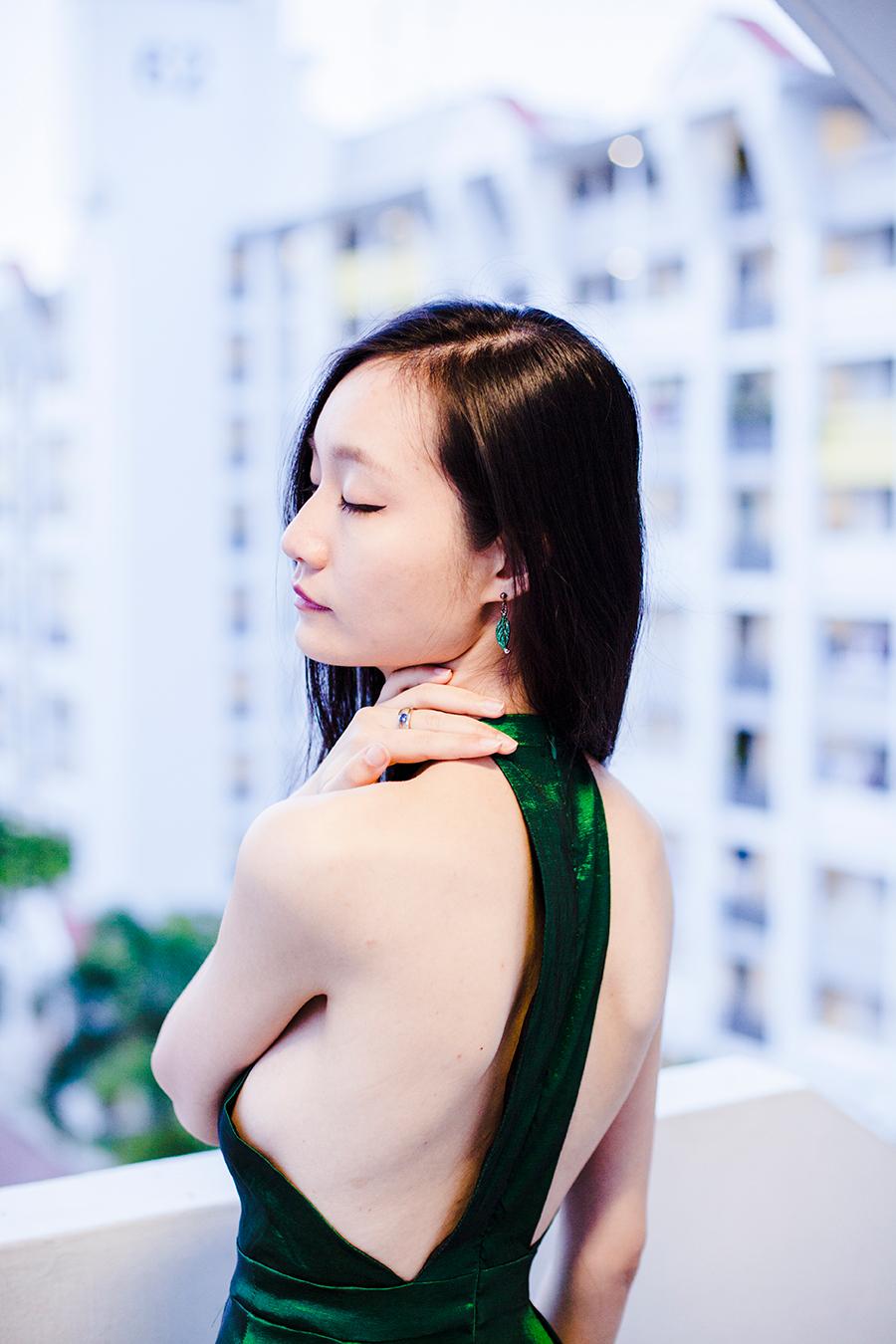 Green satin backless dress from CNDirect, Dressin green leaf earrings.