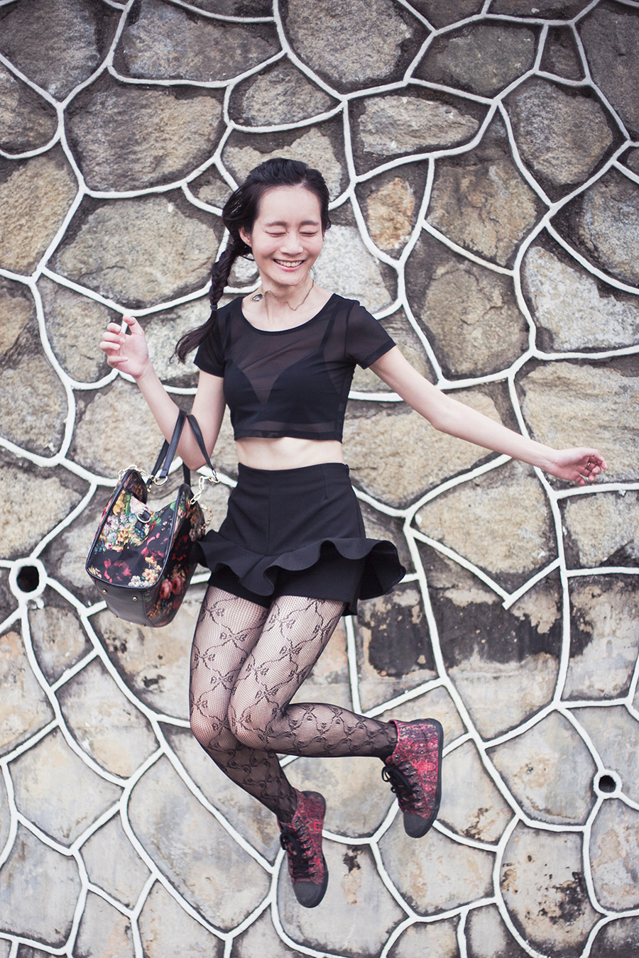WholesaleBuying mesh crop top, Uniqlo bra, Topshop ribbon lace tights, Dressin floral bag, McQ x Puma high top sneakers, Simply Willow emerald necklace.