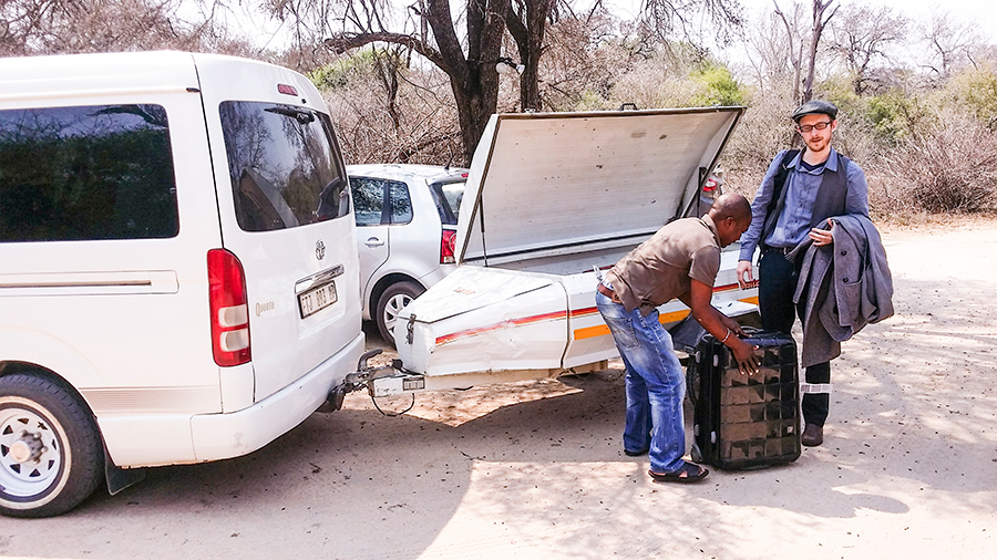 Unloading luggage at our destination at Rhino Post Safari Lodge, Kruger National Park, South Africa.