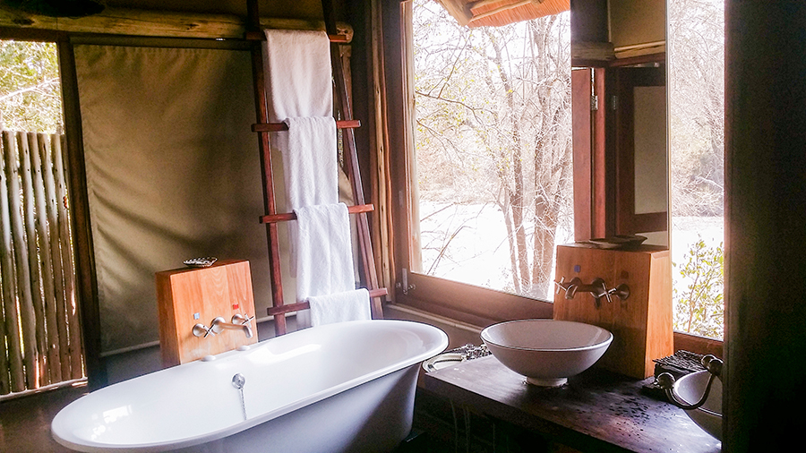 Bathtub at Rhino Post Safari Lodge, Kruger National Park, South Africa.
