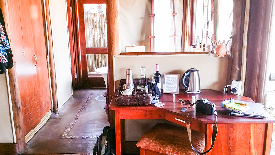 Beauty table at Rhino Post Safari Lodge, Kruger National Park, South Africa.