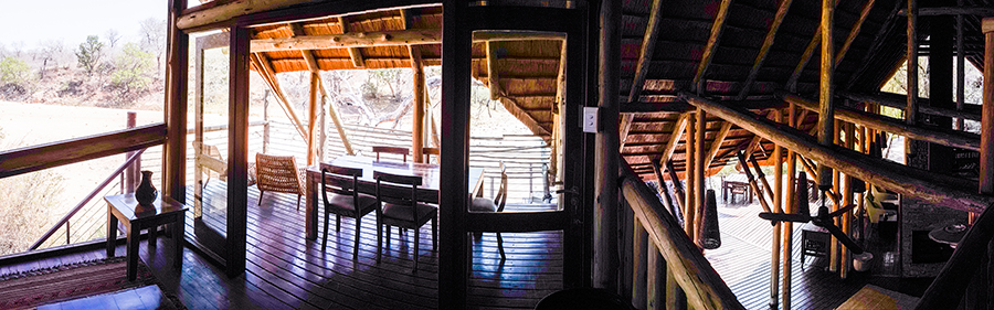View of second story shared space at Rhino Post Safari Lodge, Kruger National Park, South Africa.