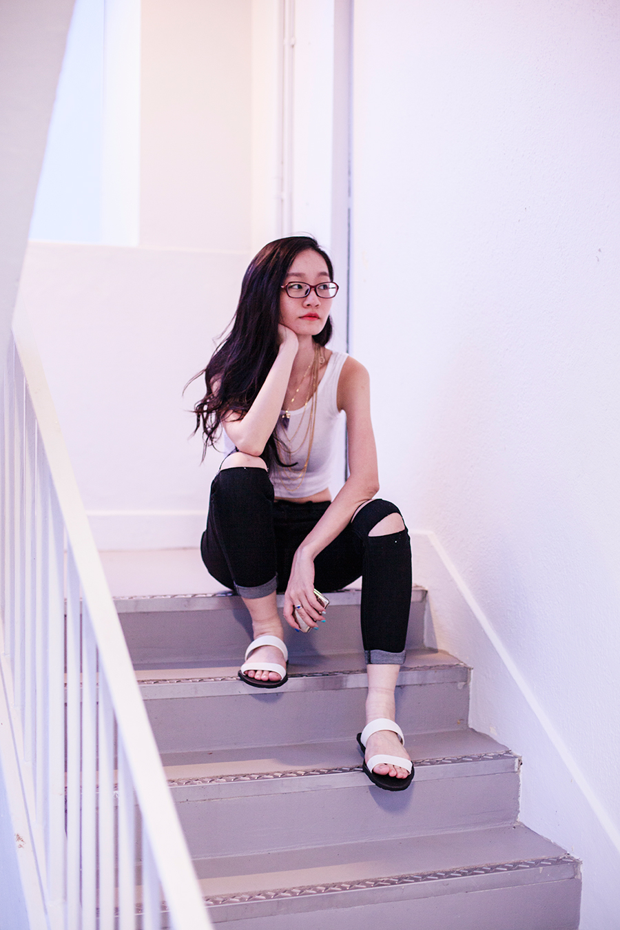 Monochromatic casual outfit: Boylymia ripped jeans, WholesaleBuying white tank crop top, Dealsale amethyst necklace, Firmoo red framed glasses, BlackOutSG white sandals.