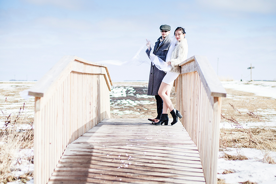 Wedding photoshoot on a bridge at the Rustic Oaks, Moorhead Minnesota, USA