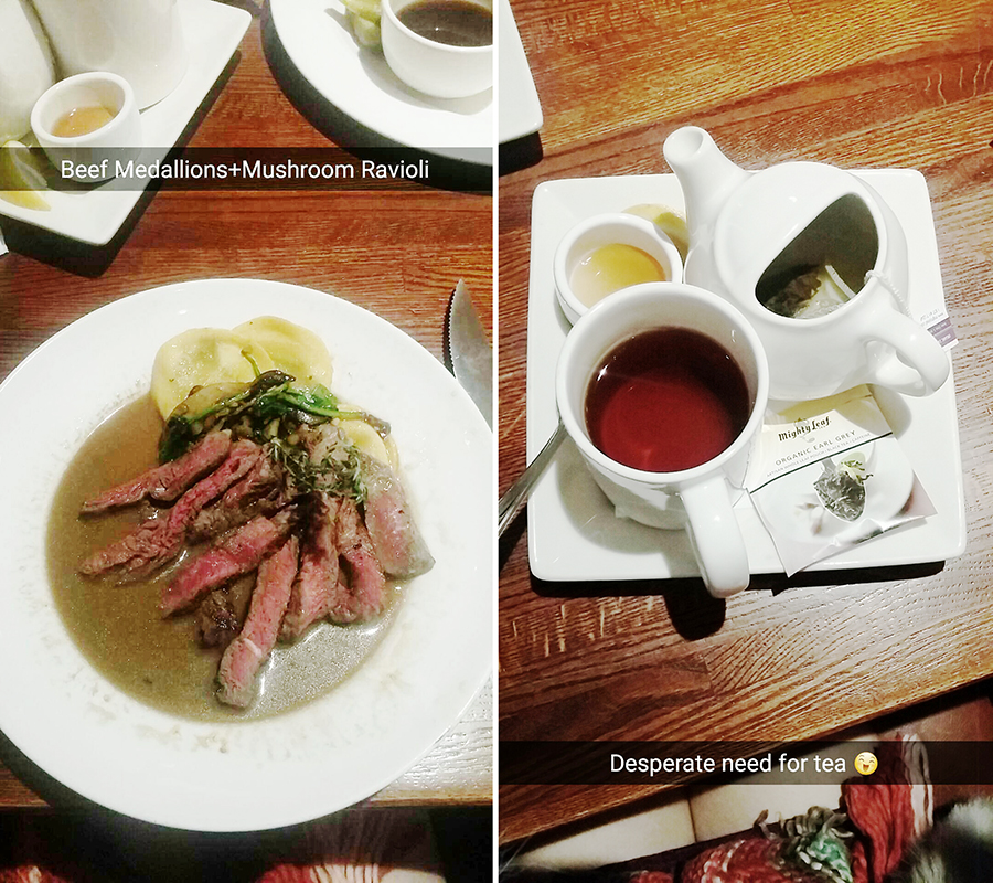 Snapchat of beef medallions and ravioli at Doolittles Woodfire Grill, Fargo, USA