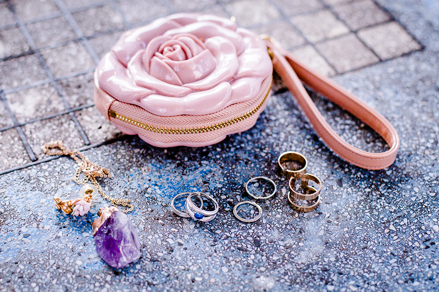 Jewelry on a stone table.