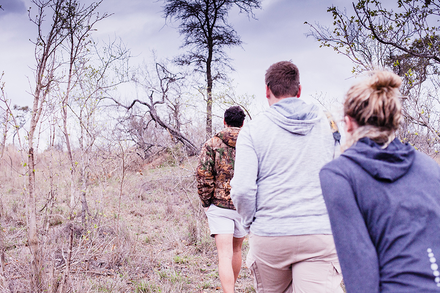 Trekking to get a closer look at Rhinos at Kruger National Park, South Africa.