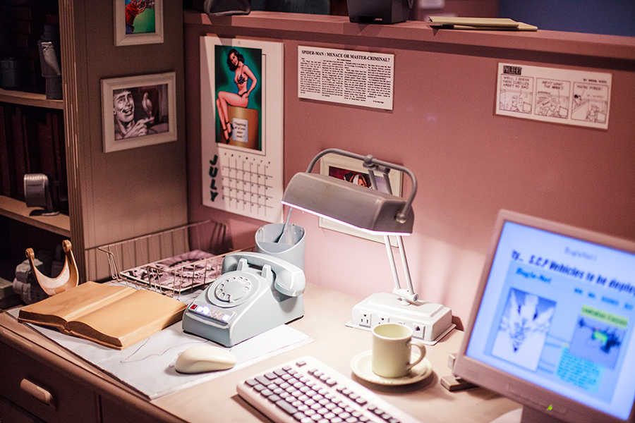 Mockups of an office desk while queuing for Model of the ride The Amazing Adventures of Spider-Man 4D ride at Universal Studios Japan, Osaka.
