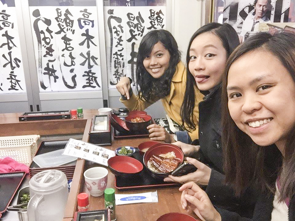 Selfie with our unagi meal in Takagi Suisan eel restaurant at Osaka, Japan. Photo by Ruru.