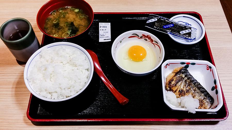 Breakfast at Za Meshiya, 24 hour don restaurant in Osaka, Japan.