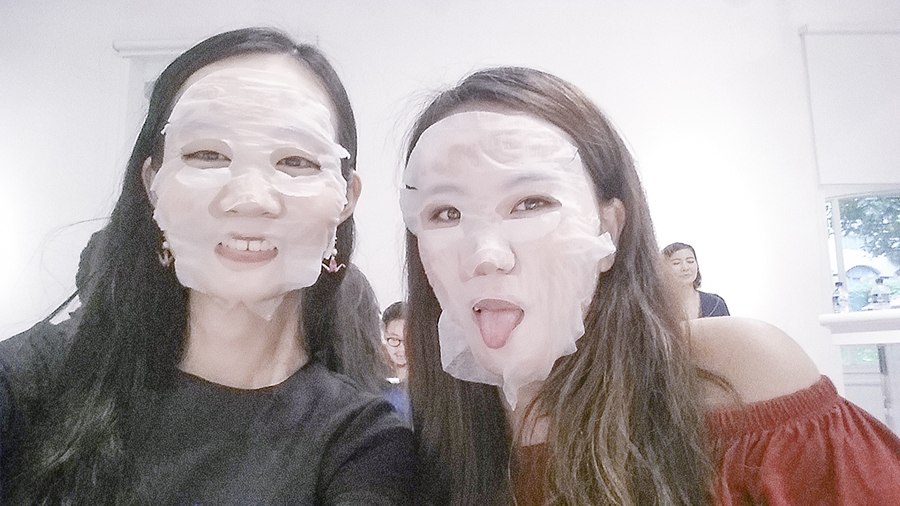 Me and Jody with our face masks at the Muji Health and Beauty Workshop at Japan Creative Centre, Singapore.