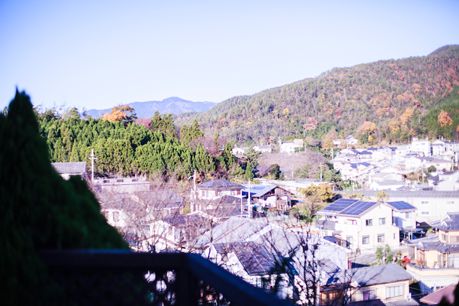 Mountain view from our Kyoto Airbnb.