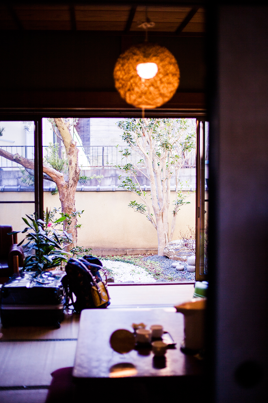 Small zen garden at our Kyoto Airbnb.