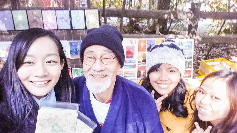 Wefie with artist Nakamura Kinji sensei at Arashiyama, Kyoto, Japan.