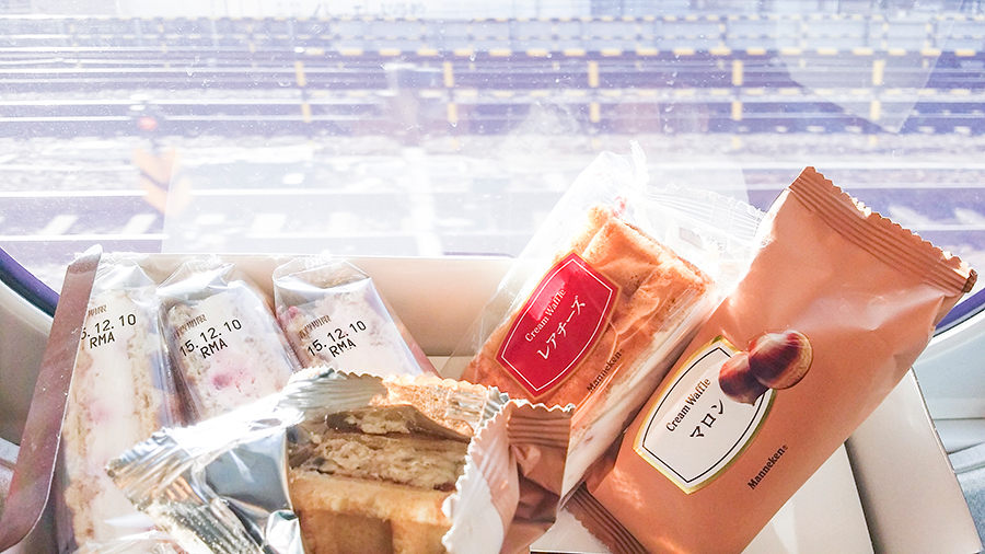 Waffles from Manneken on the shinkansen from Kyoto to Tokyo, Japan.