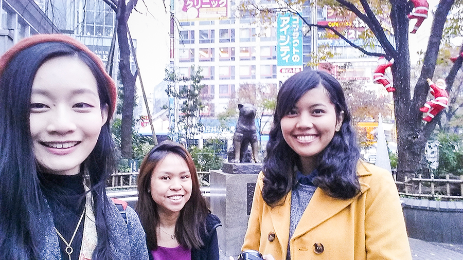 Selfie with Hachiko in Shibuya.