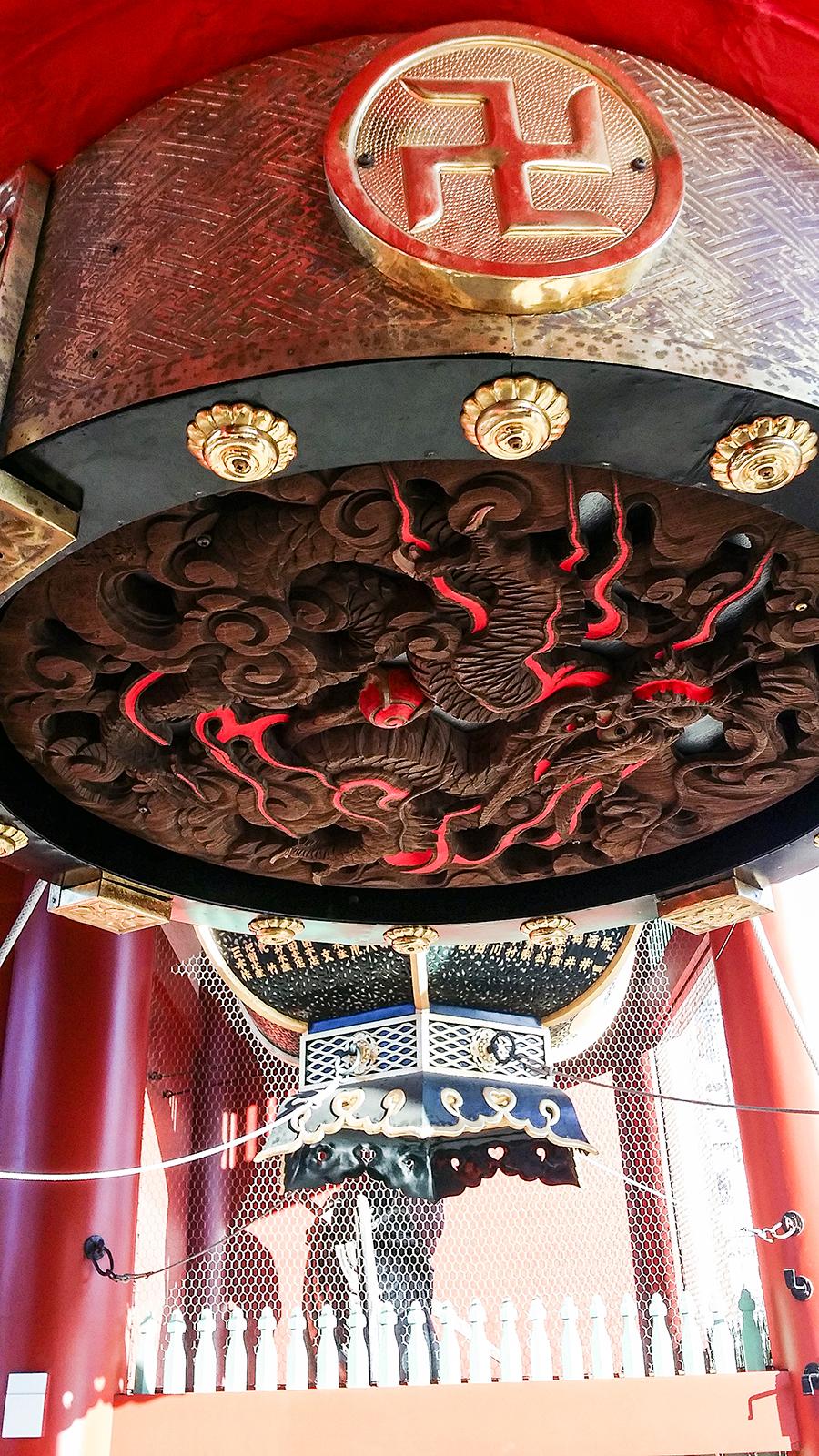 Underside of lantern at the Kaminarimon of Sensoji, Asakusa Tokyo Japan.