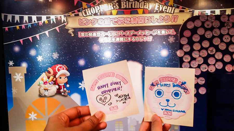 Writing messages for Chopper's birthday at One Piece Tower, Tokyo Tower Japan.