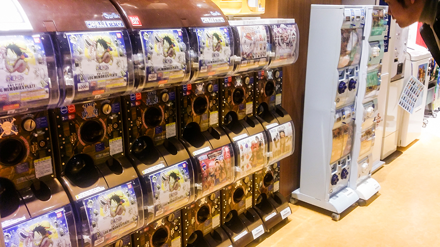 Gacha machines at the Mugiwara Store at One Piece Tower, Tokyo Tower Japan.
