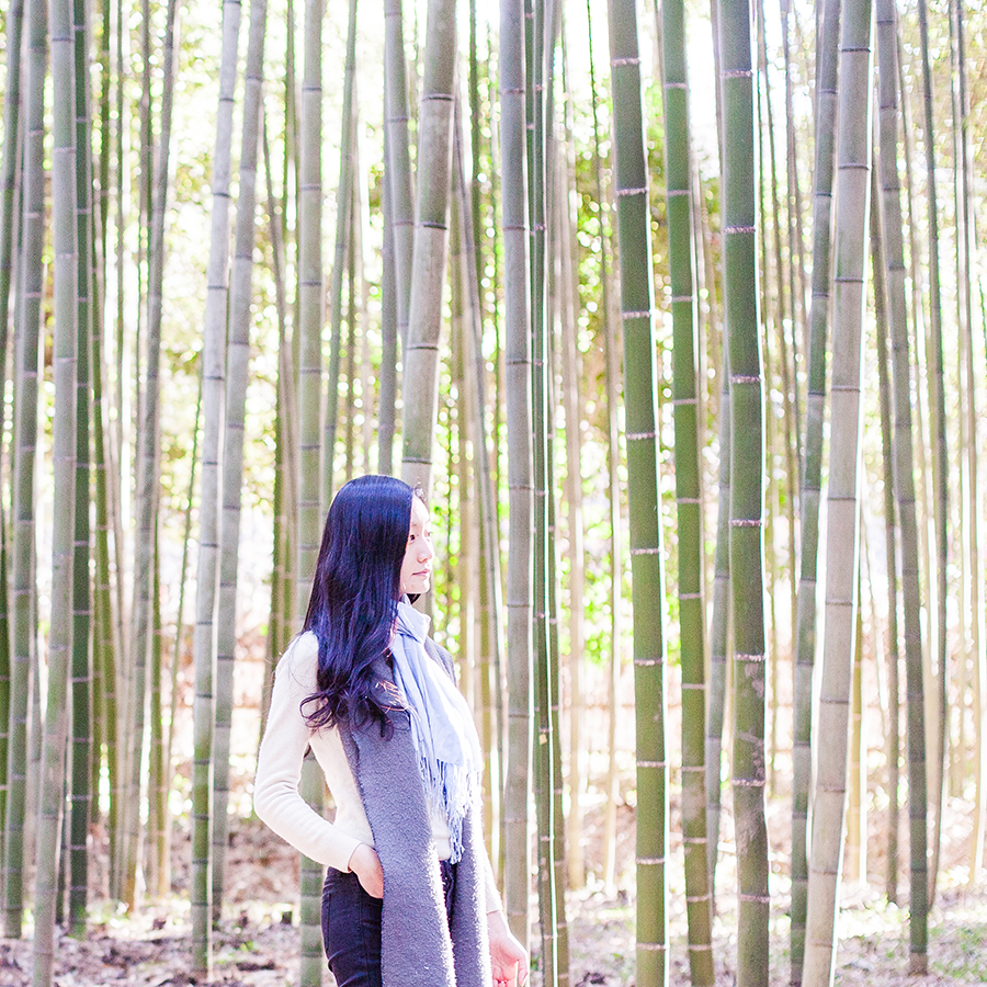 Portrait among bamboo at Arashiyama, Kyoto, Japan.