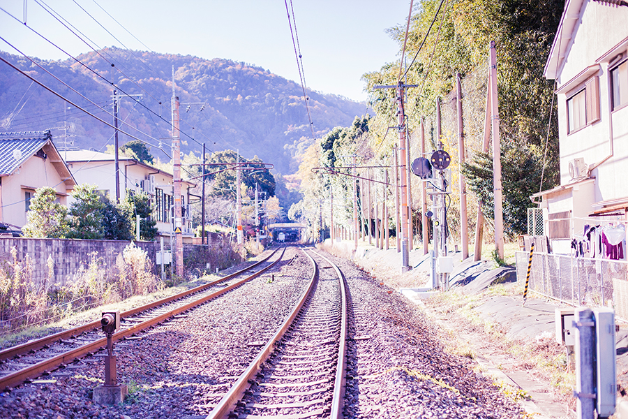 Train tracks at Arashiyama, Kyoto, Japan.