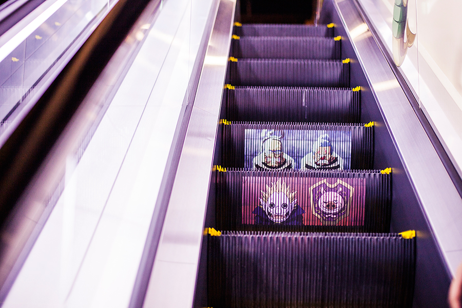 Artwork on the escalators at One Piece Tower, Tokyo Tower Japan.
