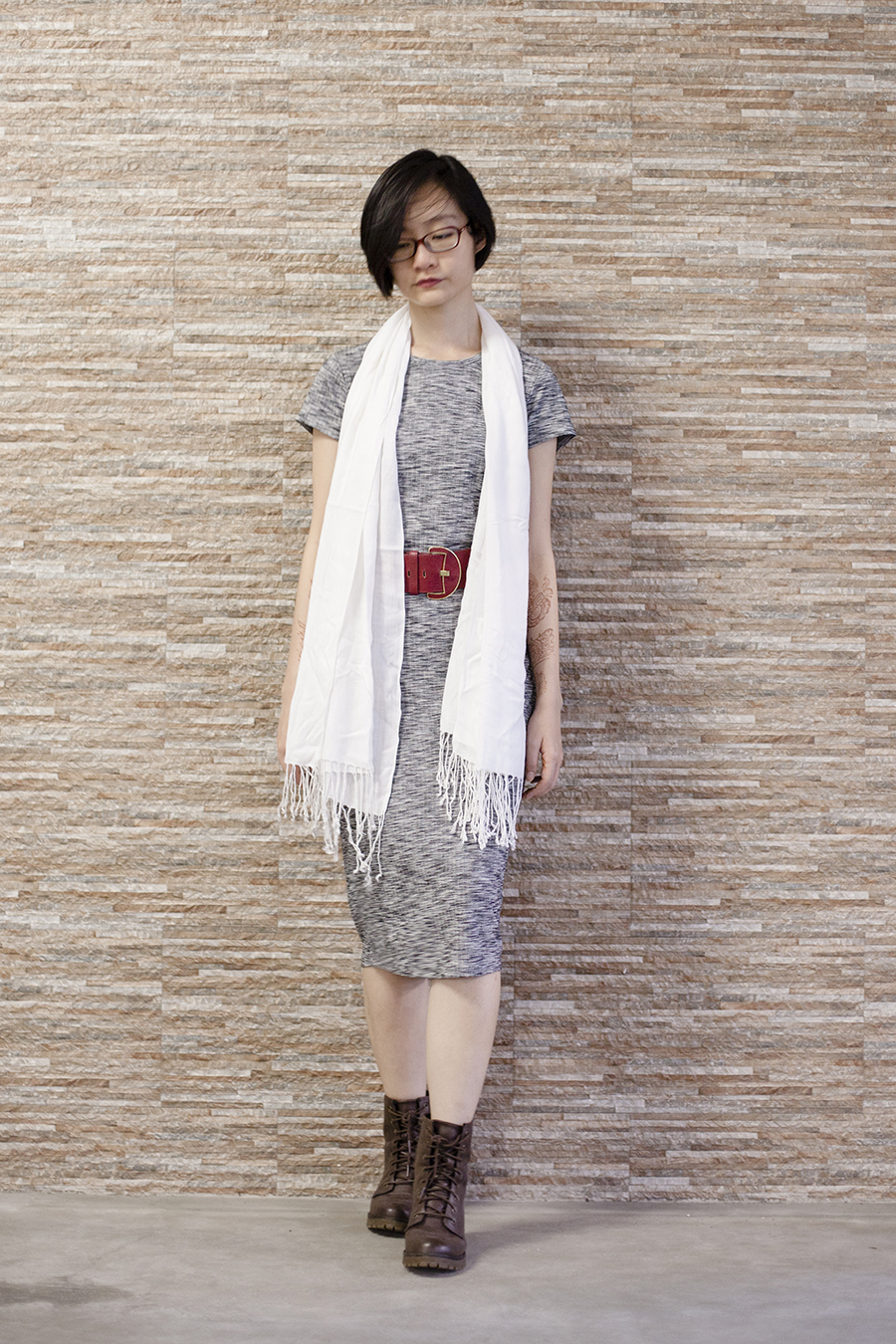 Cotton On heather grey bodycon midi dress, Steve Madden boots, Accessorize red belt, Firmoo glasses, white pashmina shawl.