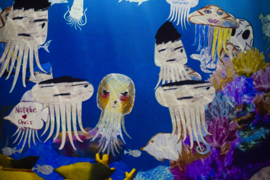 My pretty sketched jellyfish at the Sketch Aquarium at the Future World exhibit at the ArtScience Museum, Singapore.