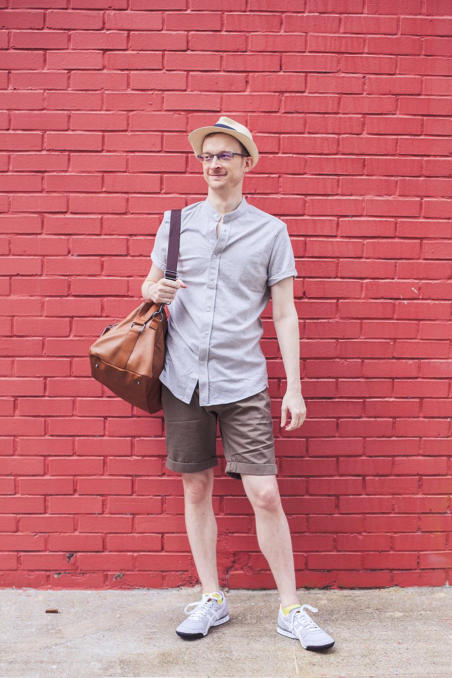 ThisGuyAh outfit: Zalora mandarin collar polo shirt, The Academy Branch shorts, ALDO duffle bag, Onitsuka Tiger sneakers.