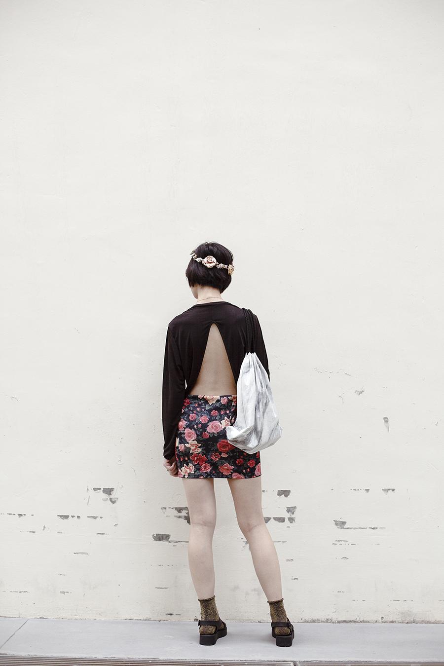 Boho chic outfit: Forever 21 open back top, ALDO Yboniel Necklace, Snupped white marble drawstring bag, Forever 21 floral skirt, River Island Metallic Flower Headband, Topshop Roll Top Glitter Socks, Melissa Hotness Platform Sandals