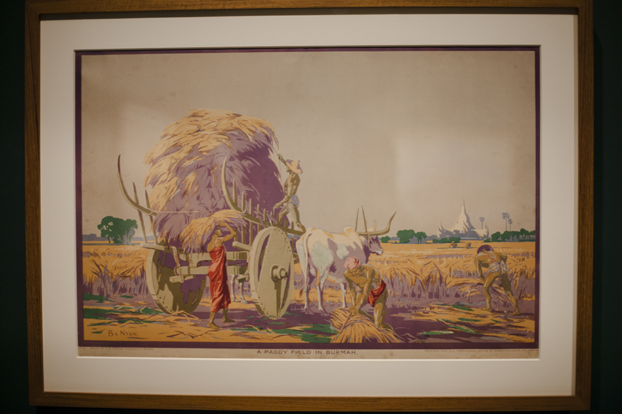 National Gallery Singapore: A Paddy Field in Burmah by U Ba Nyan, lithograph.