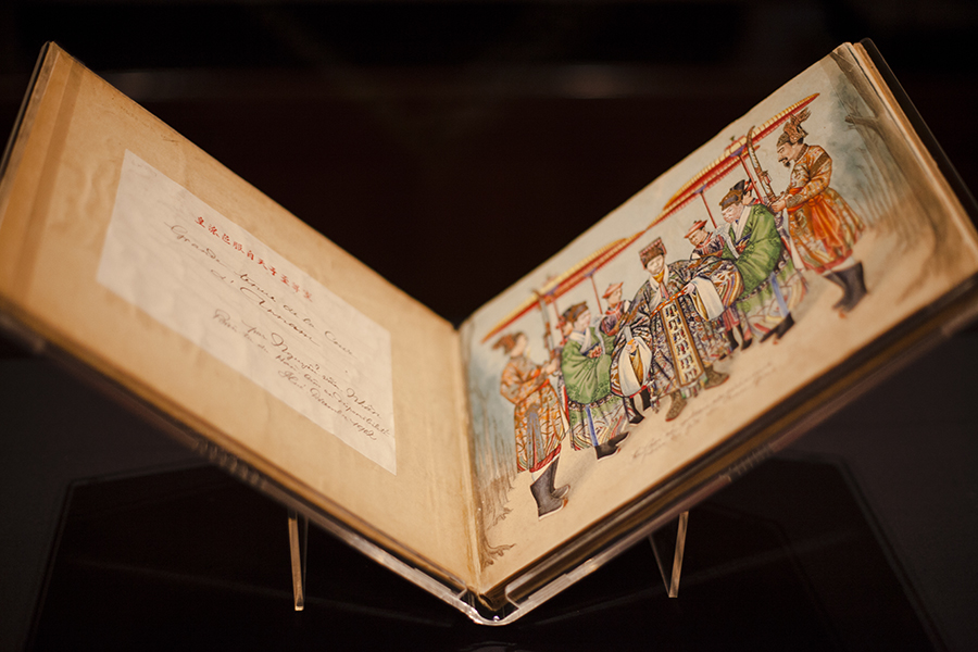 National Gallery Singapore: Grande tenue de la cour d'Annam (Official Dress of the Court of Annam) by Nguyen Van Nhan, watercolour on paper, bound into linen-covered album, 1902.
