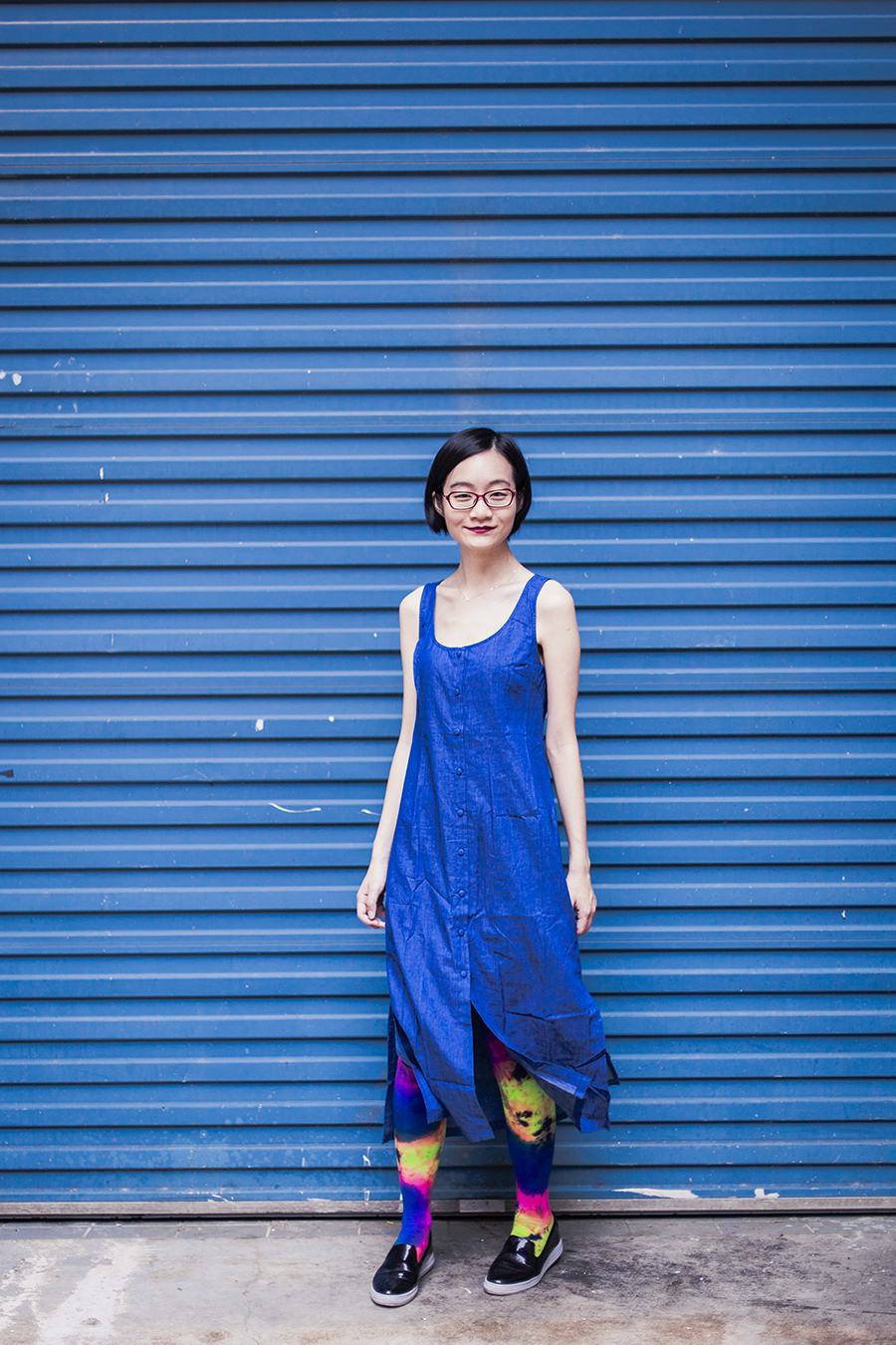 Blue outfit: Zalora Love Button Front Midi Dress, We Love Colors splash color thigh high socks, Zalora black shoes, Firmoo red glasses.