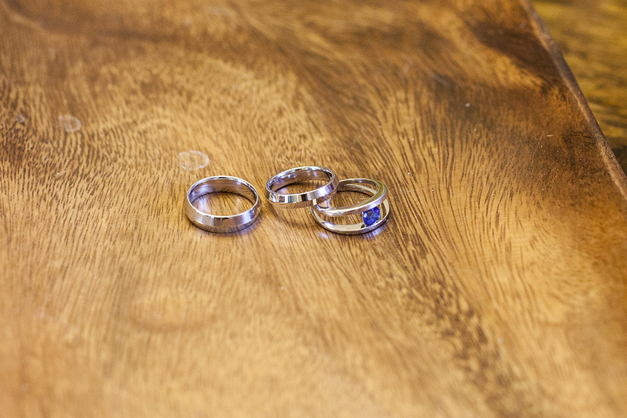 Simple wedding bands with knife edge from Schmidt's Jewelry.