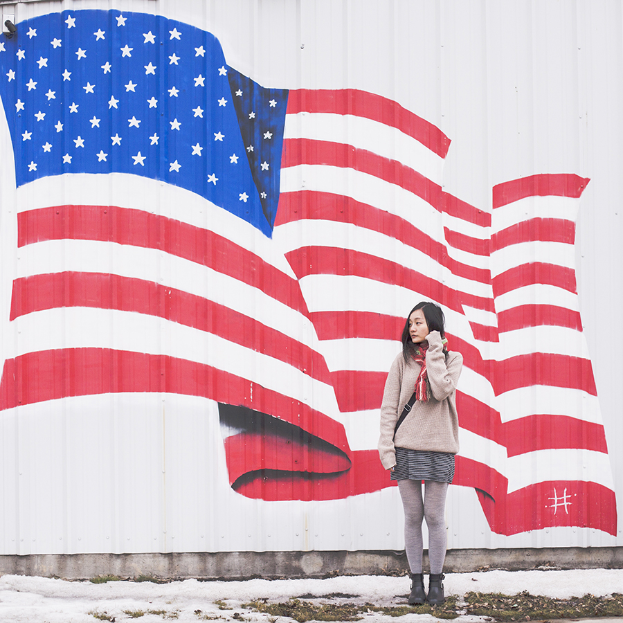 In front of the US flag: Zara striped dress, Uniqlo grey ribbed heattech tights, Fox multicolor scarf, Dav black rain boots, boyfriend sweater.