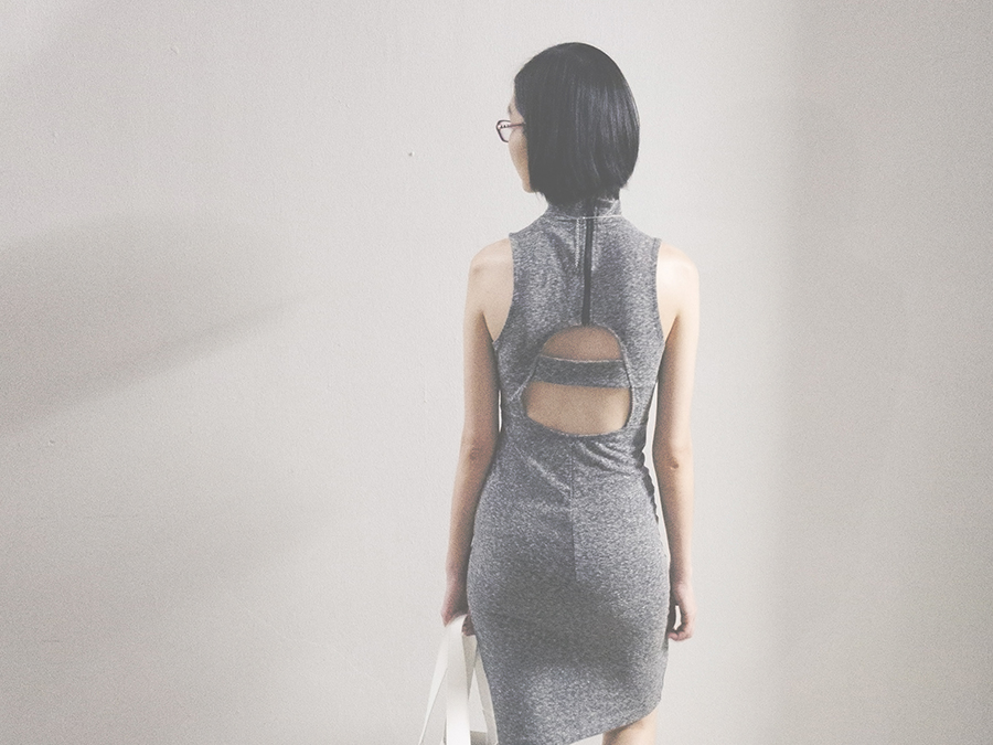 StyleXStyle 4th Anniversary outfit: Forever 21 grey cutout bodycon dress.