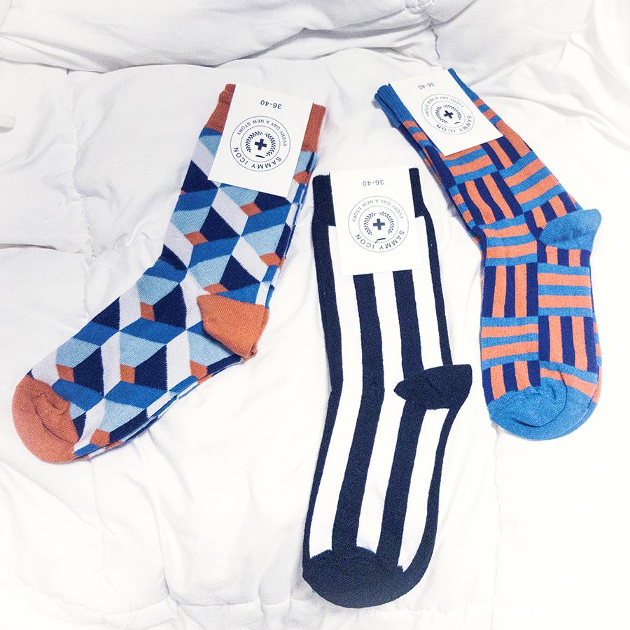 Sammy Icon socks: Dekart, Gaudi, Lumiere.