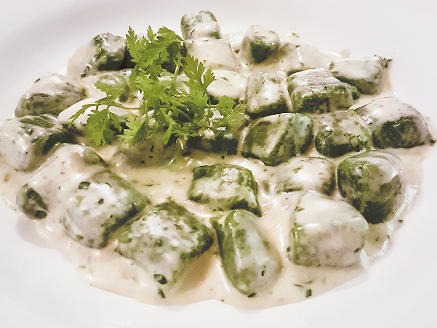 GNOCCHI AL GORGONZOLA Spinach & Potato Dumplings with Gorgonzola Cheese Sauce ($28 SGD) at Garibaldi Italian Restaurant & Bar, Singapore