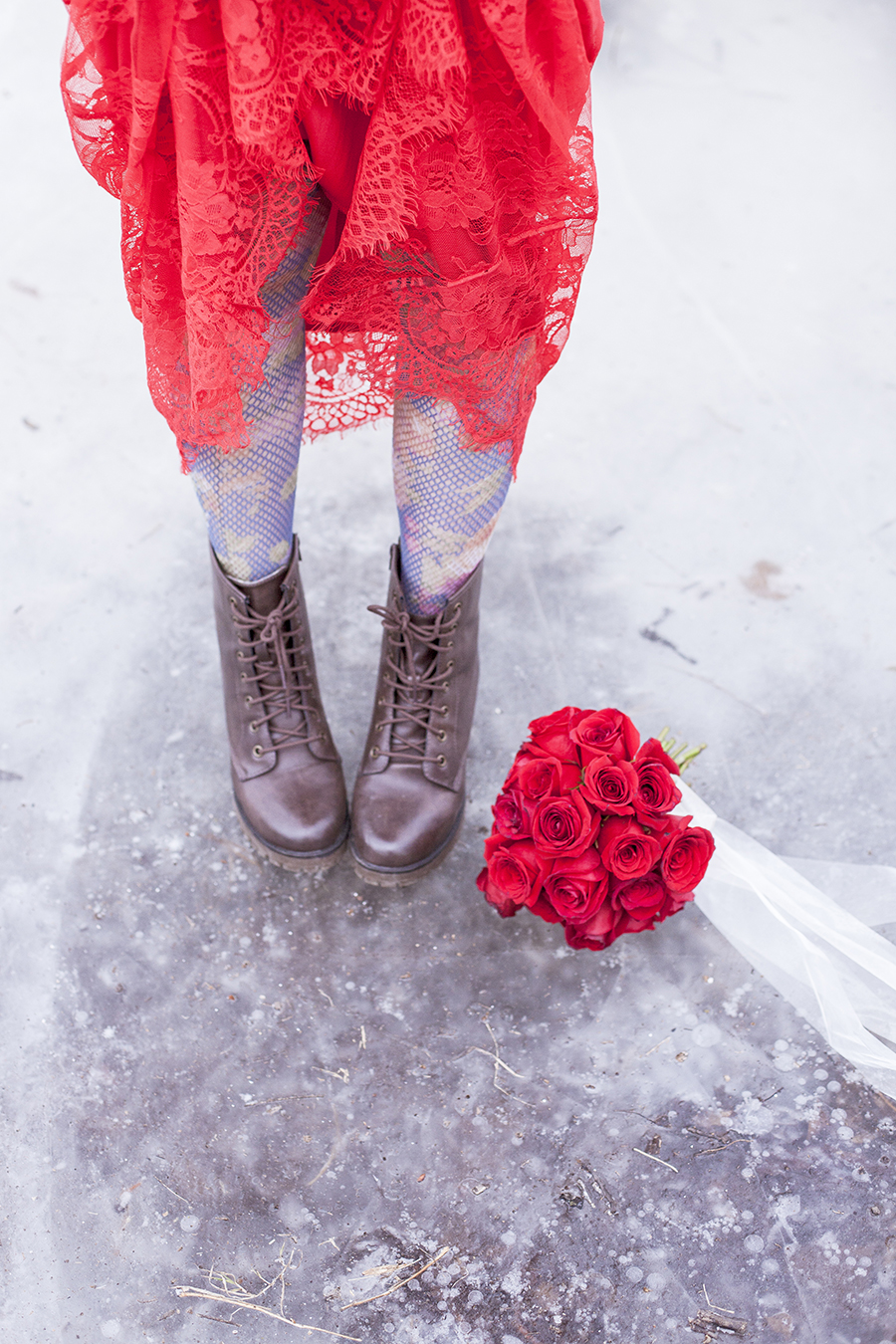 Banggood red lace mermaid dress, Urban Outfitters floral lace tights, Steve Madden boots, wedding bouquet of red roses.