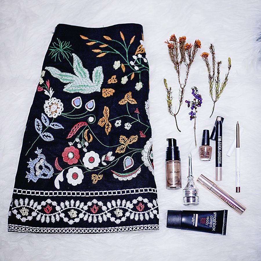 Shein embroidered skirt, Inglot Face & Body Illuminator, OPI nail polish, Smashbox Camera Ready BB Cream, Benefit Ka-Brow! eyebrow liner, I'm Stick Shadow highlight pen, ColourPop Creme Gel Liner, Pony Effect Favorite Fluid Lip Tint.